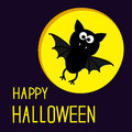 Cute bat and moon happy halloween card vector illustration Stock Image