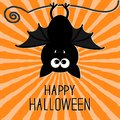 Cute bat. Sunburst background. Happy Halloween card. Flat design. Royalty Free Stock Photo