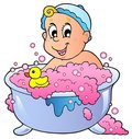 Cute bathing baby Royalty Free Stock Photo