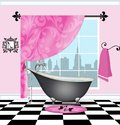 Cute Bathroom With Vintage Claw-foot Tub Royalty Free Stock Photo