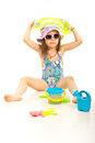 Cute beach girl with toys sunglasses and against white Royalty Free Stock Photo