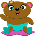 Cute Bear Baby with a Flower Stock Photos