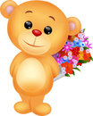 Cute bear cartoon holding flower bucket illustration of Royalty Free Stock Image