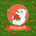Cute bear eating a slice of watermelon. Vector illustration. Royalty Free Stock Photo