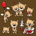 Cute bear family cartoon Stock Images