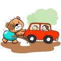 Cute bear help car stuck on mud illustration Stock Photos