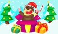 Cute bear with new year presents Stock Images