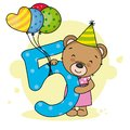 Cute bear with the number five