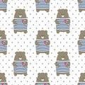 Cute bear seamless pattern on polka dots background.