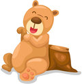 Cute bear sitting on timber illustration of isolated Royalty Free Stock Image