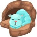 Cute bear sleeping in the cave