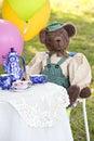 Cute bear at tea party Royalty Free Stock Photo