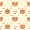 Cute bear tribal boho Seamless Pattern Background