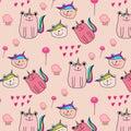 Cute Bear Unicorn Pattern Background.