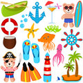 Cute Bear Vector Icons : Summer Theme Royalty Free Stock Photo