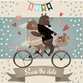 Cute bears on bicycle for wedding invitation cards Royalty Free Stock Photography