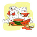 Cute bears eating a slice of watermelon. Vector illustration Royalty Free Stock Photo
