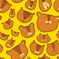 Cute bears seamless pattern.. Background with Teddy bear in doodle sketchy style. Vector illustratio
