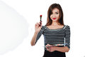 Cute beautiful girl artist holding a palette and  brush in the process draws inspiration. White background, isolated. Royalty Free Stock Photo