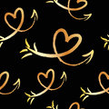 Cute beautiful seamless pattern with hand drawn sketch hearts and arrows. Background, textile, texture, fabric.