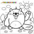 Cute beaver character coloring page vector illustration of a smiling and waving in a field of flowers Stock Photography