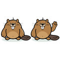 Cute beaver character a smiling and waving Stock Images