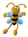 Cute bee acrylic illustration of happy Royalty Free Stock Photography