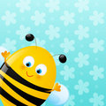 Cute bee on blue background Royalty Free Stock Image
