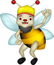 Cute bee cartoon thumb up illustration of Stock Photography