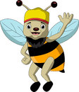Cute bee cartoon thumb up vector illustration of Royalty Free Stock Photos