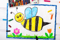 Cute bee with happy face Royalty Free Stock Photo