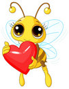 Cute Bee holding Love heart Stock Photo