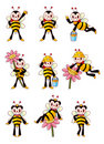 Cute bee icons set Royalty Free Stock Photography