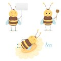 Cute bee isolated on white background Royalty Free Stock Photo