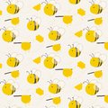 Cute Bee Pattern Background.