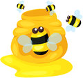 Cute bee with pot of honey Royalty Free Stock Photography