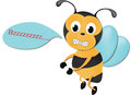 Cute bee with sign Royalty Free Stock Image