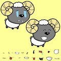Happy big head baby ram cartoon expressions collection set Royalty Free Stock Photo