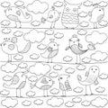Cute bird and cloud cartoon art Stock Photography