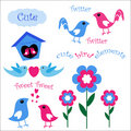 Cute Bird Elements Royalty Free Stock Photos