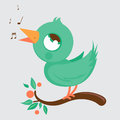 Cute bird singing vector illustration of a Royalty Free Stock Photo