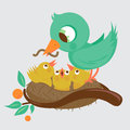 Cute birds feeding in the nest illustration of a bird young Stock Photos