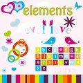 Cute Birds & Hearts Elements Royalty Free Stock Photography