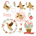 Cute birds, holiday graphic elements, vector colle Royalty Free Stock Images