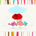 Cute birds illustration vector hand drawn style of autumn under an umbrella Stock Photo