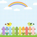Cute birds and rainbow Stock Images