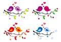 Carino uccelli cuori su albero