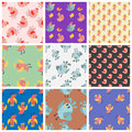 Cute birds seamless pattern vector illustration cartoon colorful set