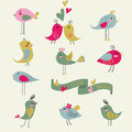 Cute birds set of ten in cartoon style Stock Photo