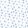 Cute birds, small flowers. Seamless pattern. Watercolor Royalty Free Stock Photo